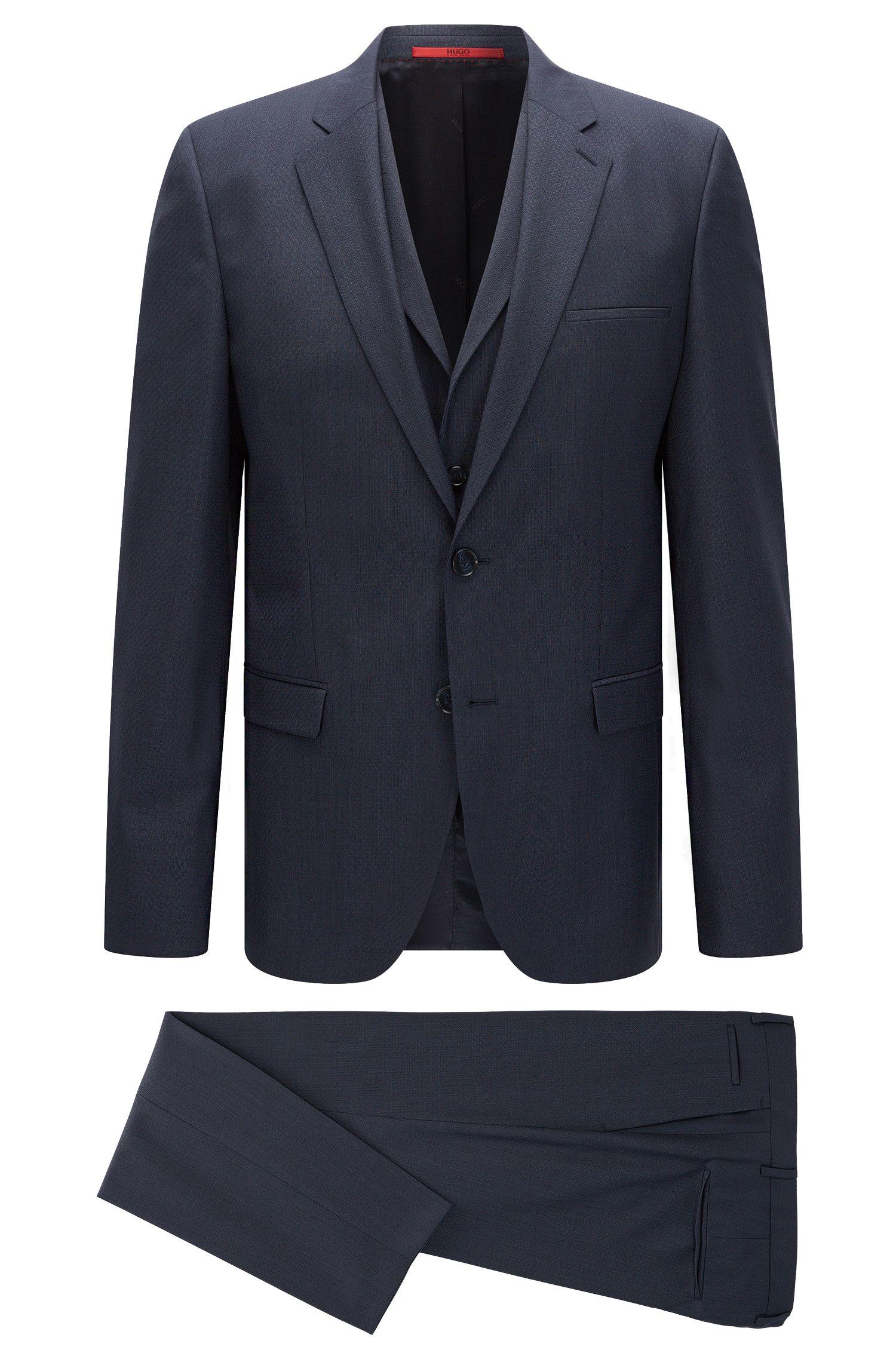 'Adlon/Wandor/Hendrin' | Extra-Slim Fit, Super 100 Virgin Wool 3-Piece Suit