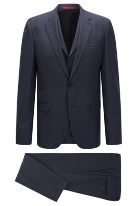 'Adlon/Wandor/Hendrin' | Extra-Slim Fit, Super 100 Virgin Wool 3-Piece Suit, Dark Blue
