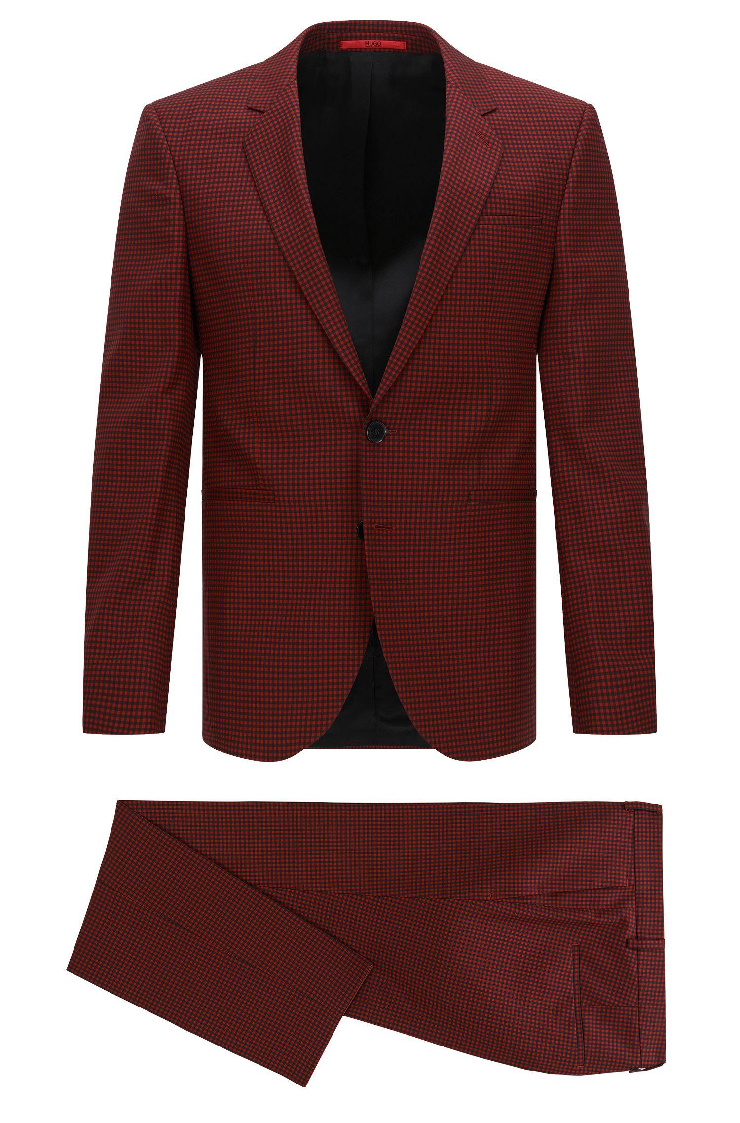 Gingham Super 110 Wool Suit, Extra-Slim Fit   Anwor/Hadlin