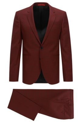 Gingham Super 110 Virgin Wool Suit, Extra-Slim Fit | Anwor/Hadlin, Dark Red