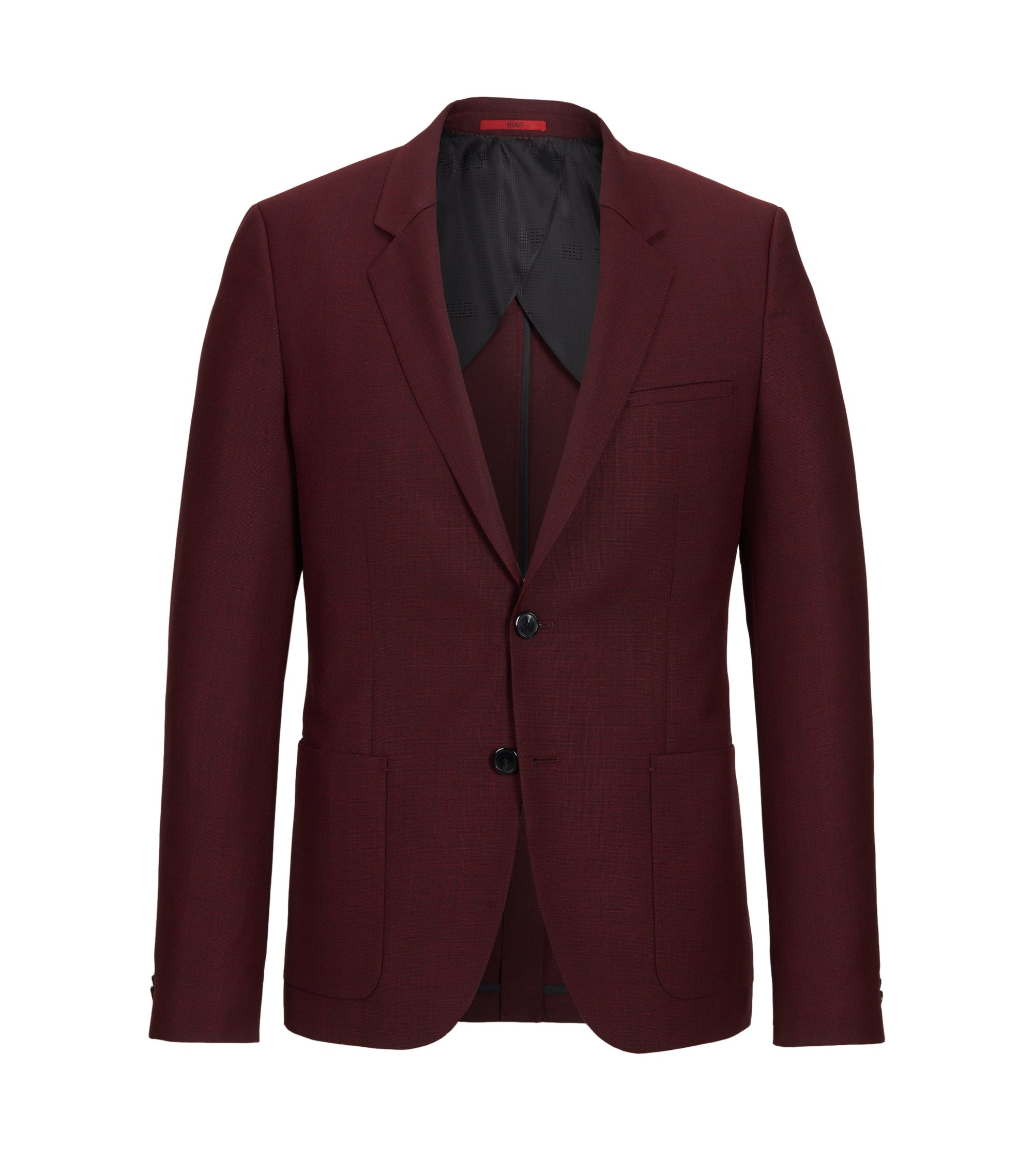 Italian Virgin Wool Sport Coat, Slim Fit | Antanio, Dark Red