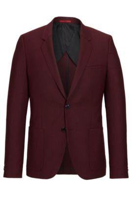 'Antanio' | Slim Fit, Italian Virgin Wool Sport Coat, Dark Red