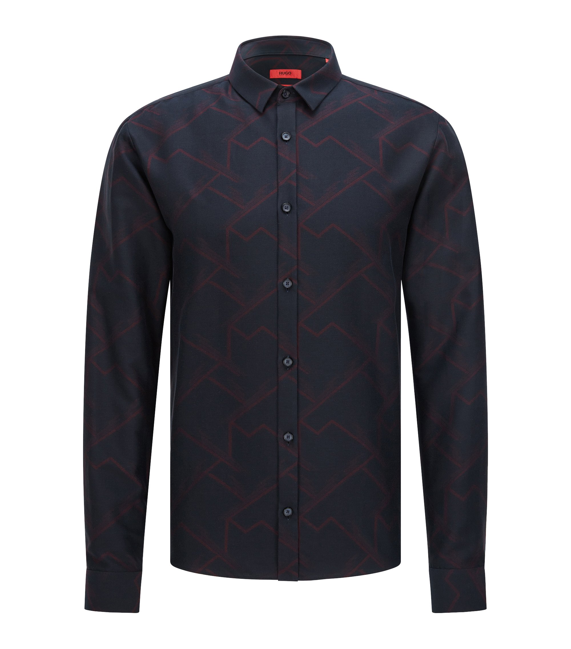 Patterned Cotton Button Down Shirt, Extra Slim Fit | Ero, Dark Blue