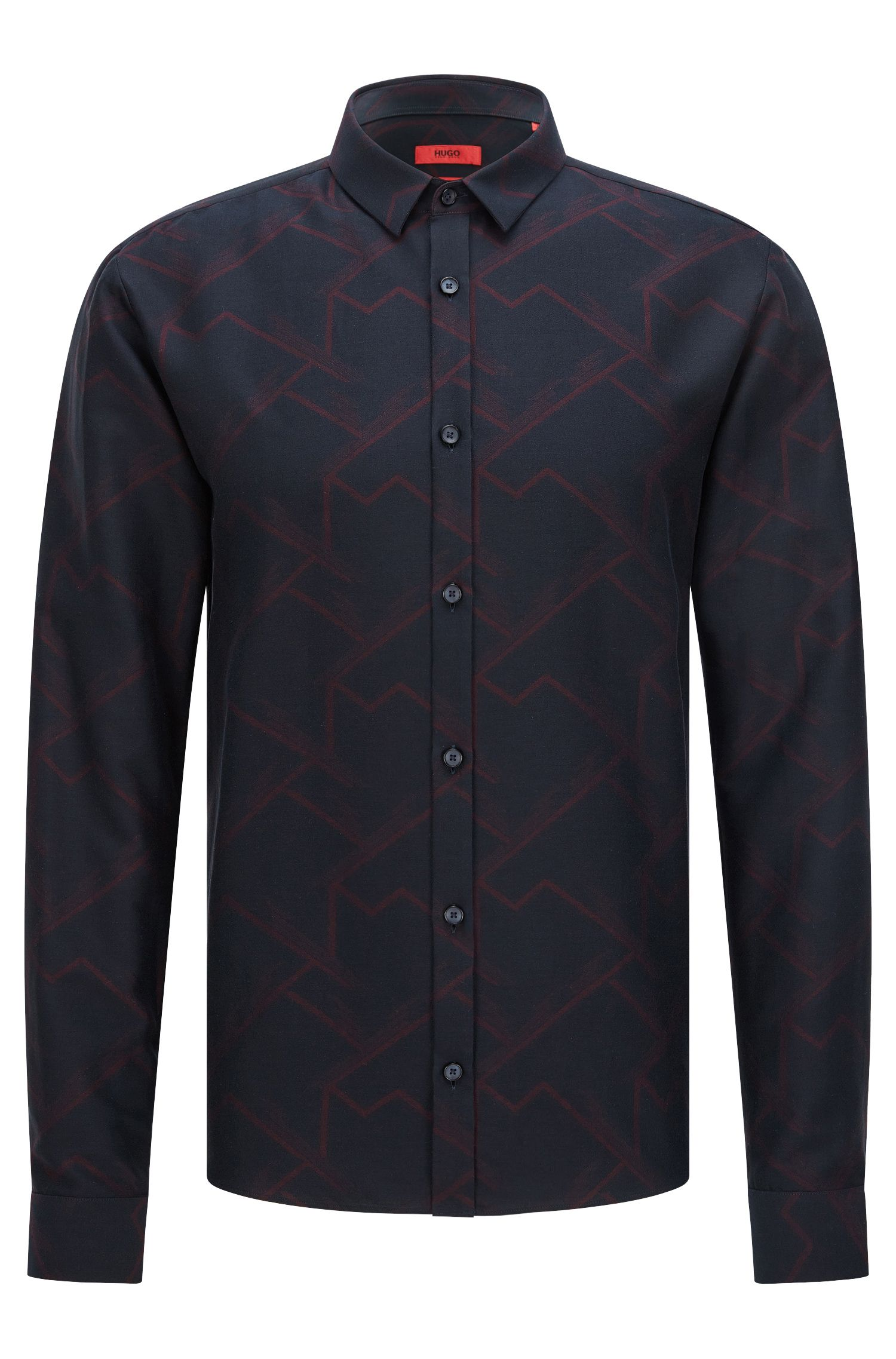 'Ero' | Extra-Slim Fit, Patterned Cotton Button Down Shirt