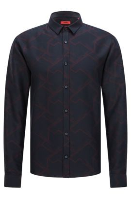 Patterned Cotton Button Down Shirt, Extra Slim Fit | Ero, Dark Blue
