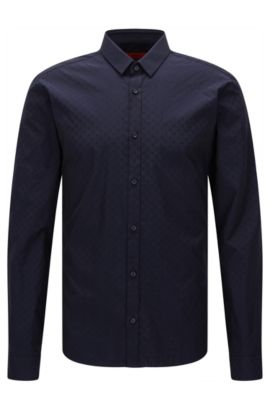 Dobby Cotton Button Down Shirt, Slim Fit | Ero, Dark Blue