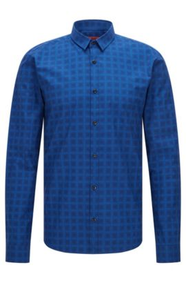 'Ero' | Extra-Slim Fit, Check Cotton Button Down Shirt, Open Blue