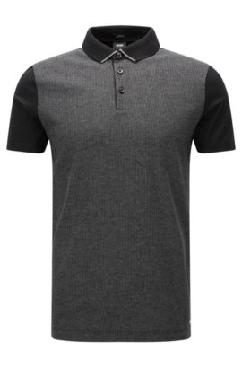 'Place' | Slim Fit, Striped Mercerized Cotton Polo, Black
