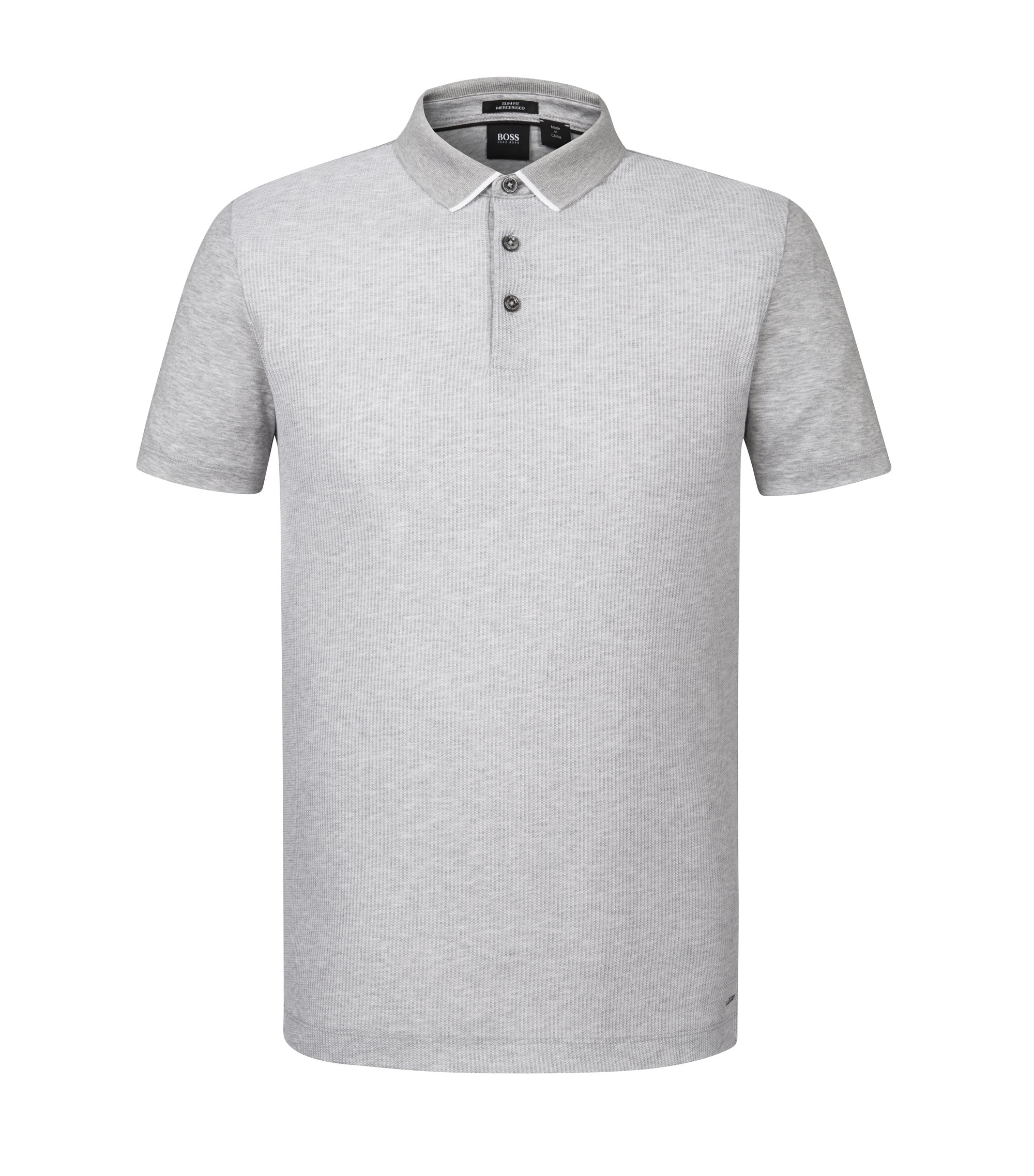 Striped Mercerized Cotton Polo, Slim Fit | Place, Open Grey