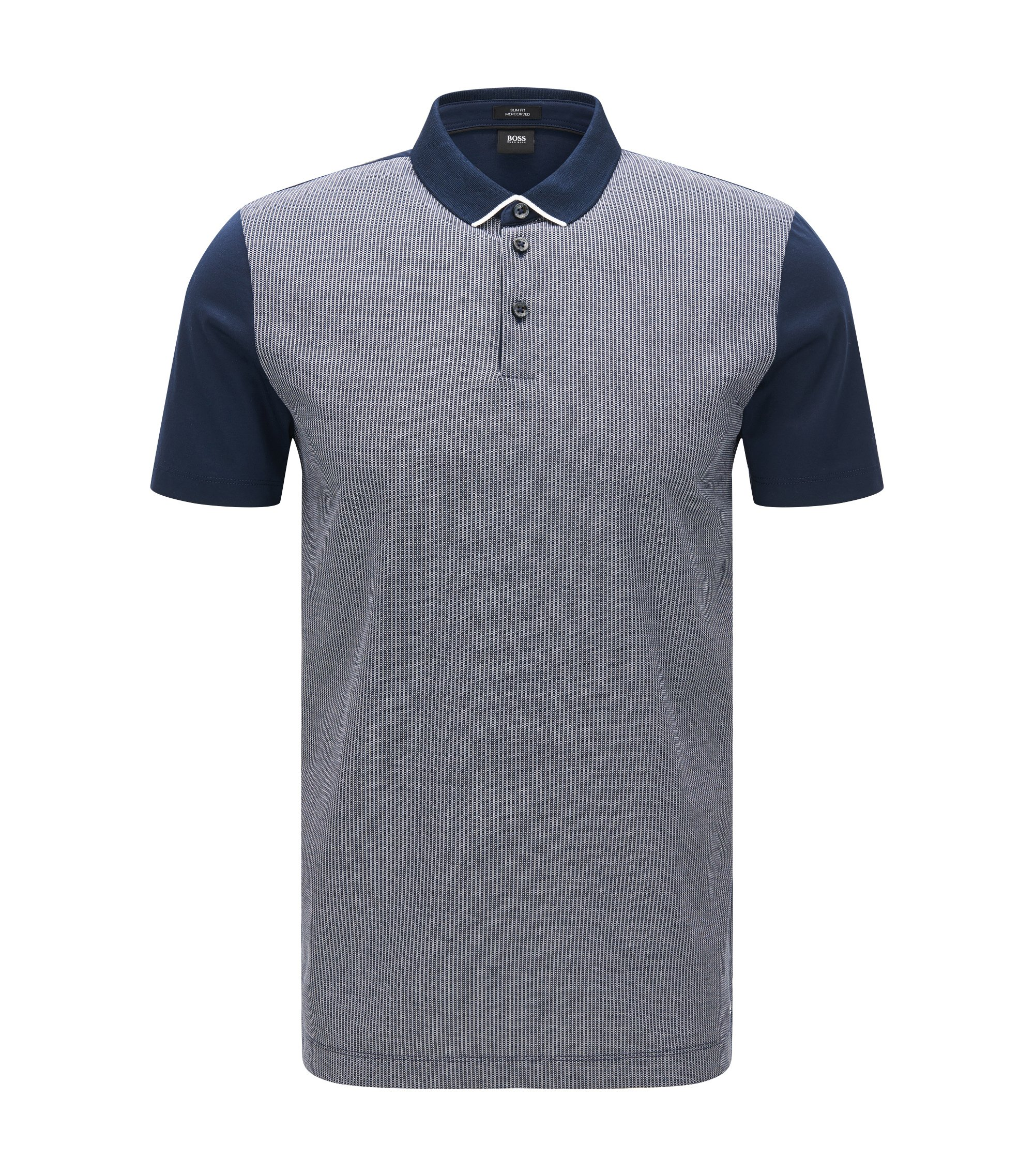 Striped Mercerized Cotton Polo, Slim Fit | Place, Dark Blue