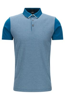 Striped Mercerized Cotton Polo, Slim Fit | Place, Turquoise