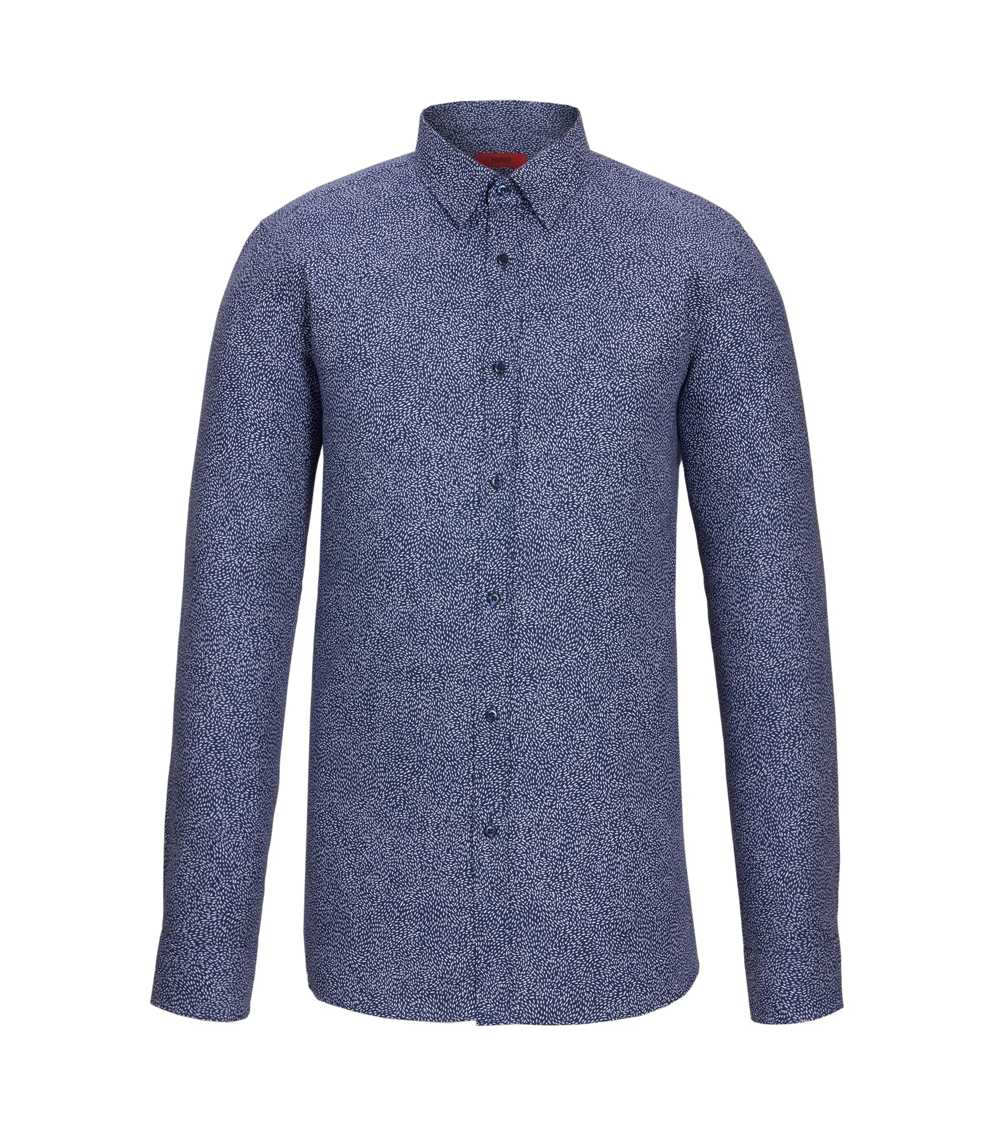 Cotton Easy Iron Button Down Shirt, Extra Slim Fit | Elisha, Dark Blue