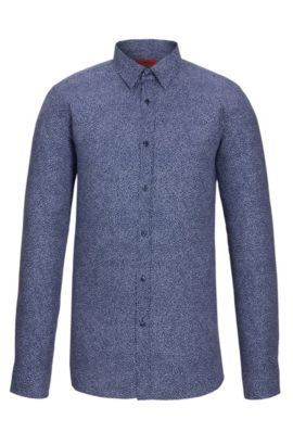 'Elisha' | Extra-Slim Fit, Cotton Easy Iron Button Down Shirt, Dark Blue