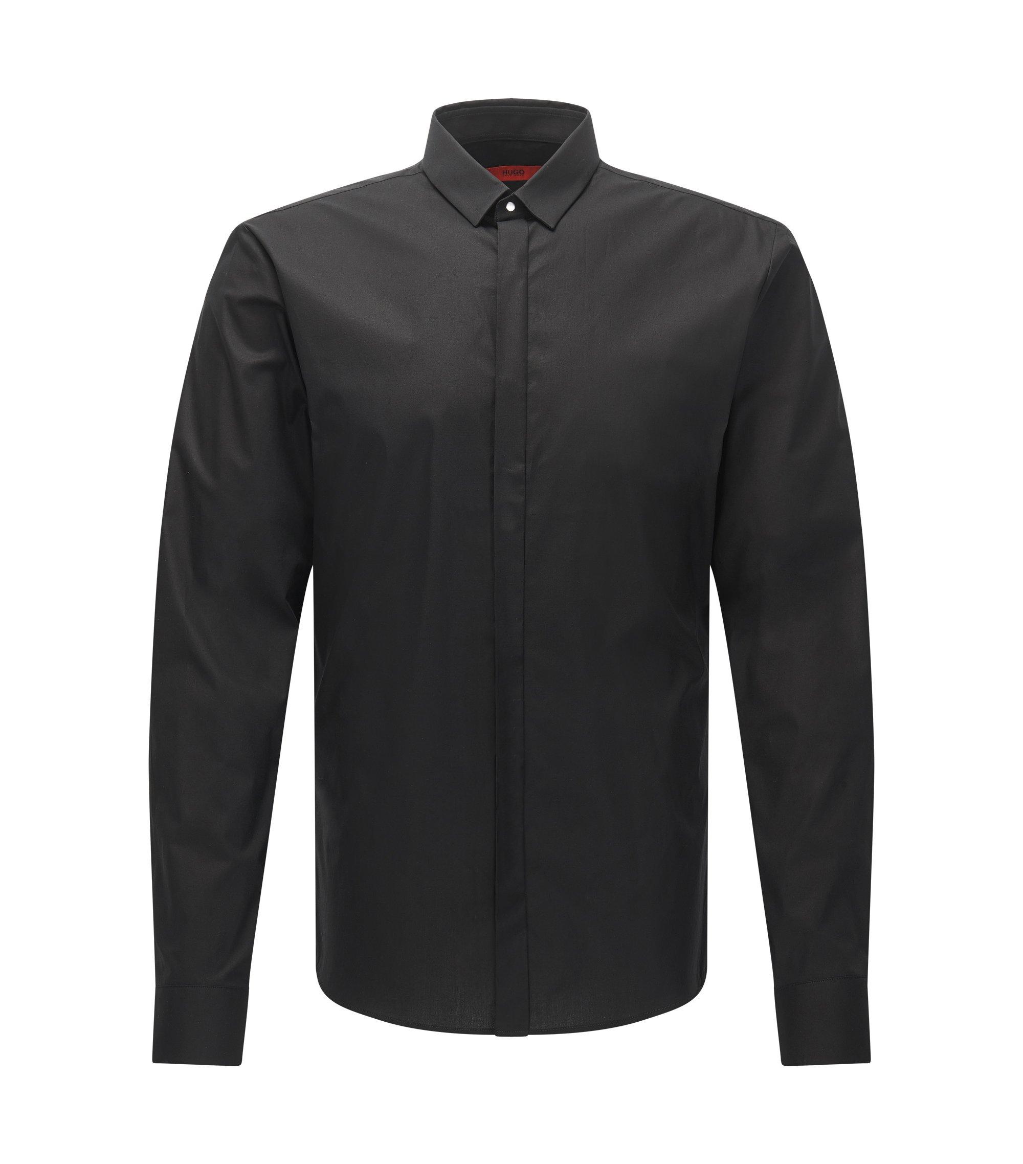 Stretch Cotton Poplin Shirt, Extra Slim Fit | Ero, Black