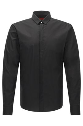 Stretch Cotton Poplin Shirt, Extra Slim Fit | Ero, Black