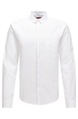 'Ero' | Extra Slim Fit,  Stretch Cotton Poplin Shirt, Open White