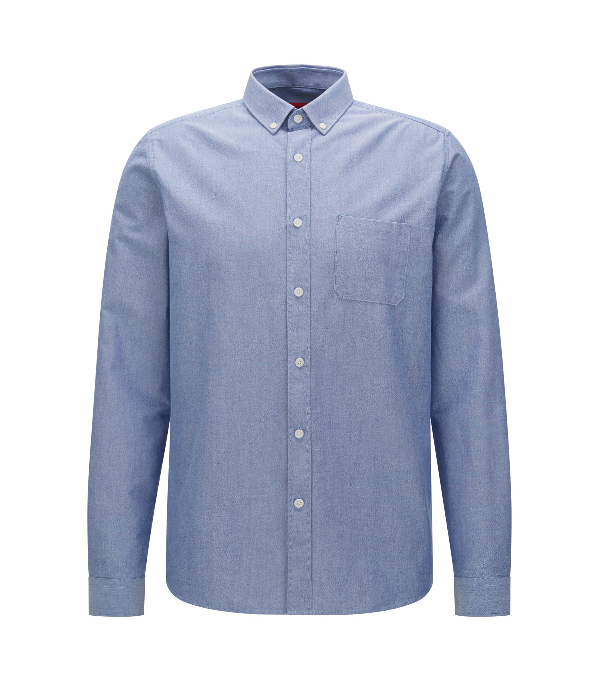 Cotton Button Down Shirt, Relaxed Fit | Emingway, Open Blue