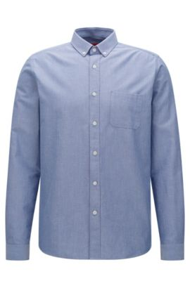 'Emingway' | Relaxed Fit, Cotton Button Down Shirt, Open Blue