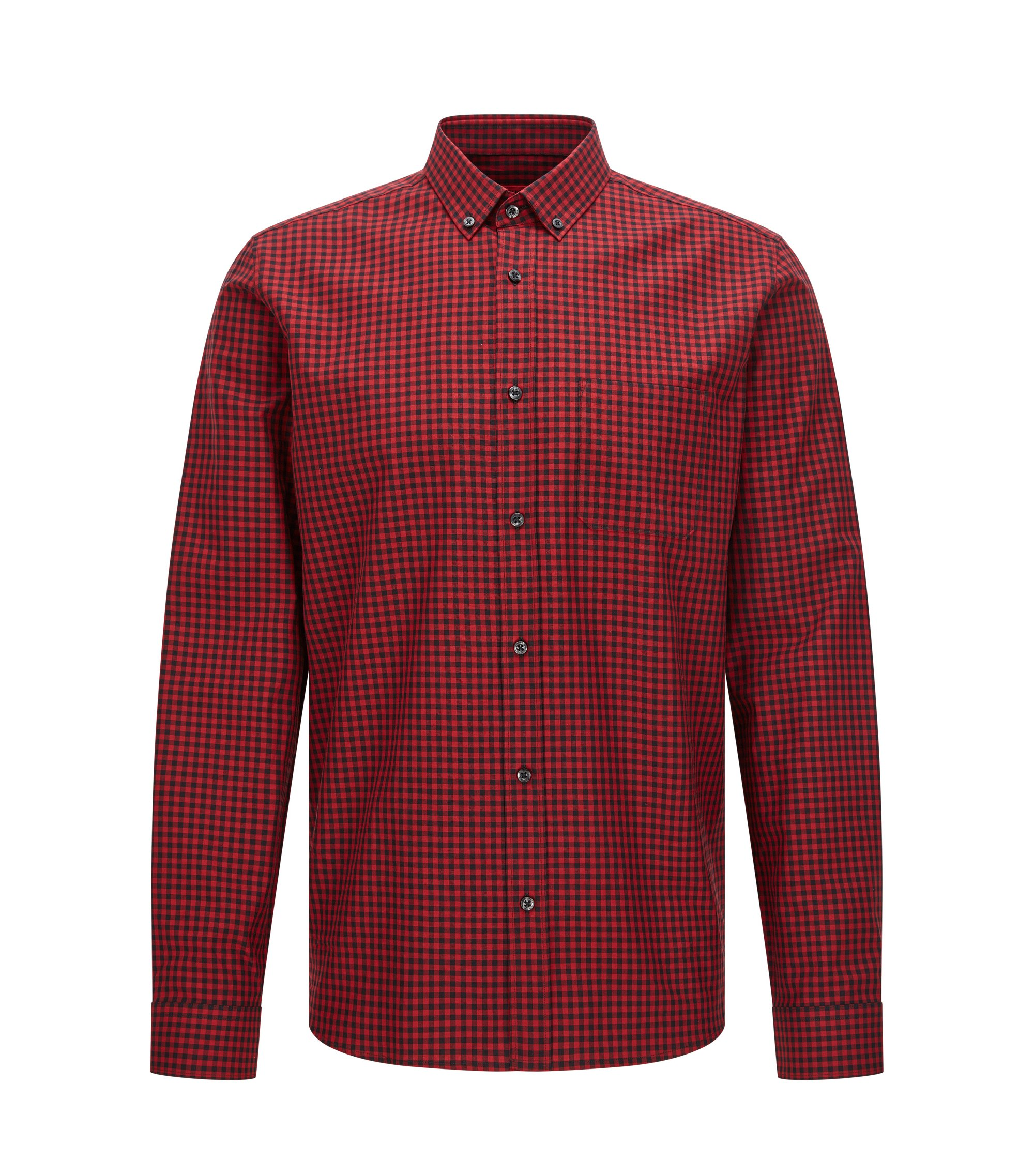 Gingham Cotton Button Down Shirt, Relaxed Fit | Emingway, Dark Red