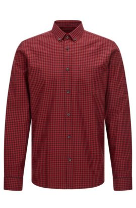 'Emingway' | Relaxed Fit, Gingham Cotton Button Down Shirt, Dark Red