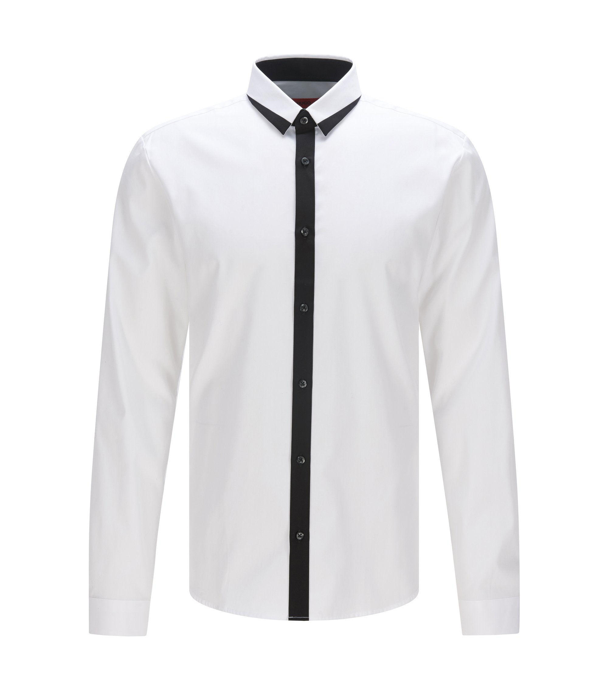 Trimmed Cotton Button Down Shirt, Extra Slim Fit | Egberto, Open White