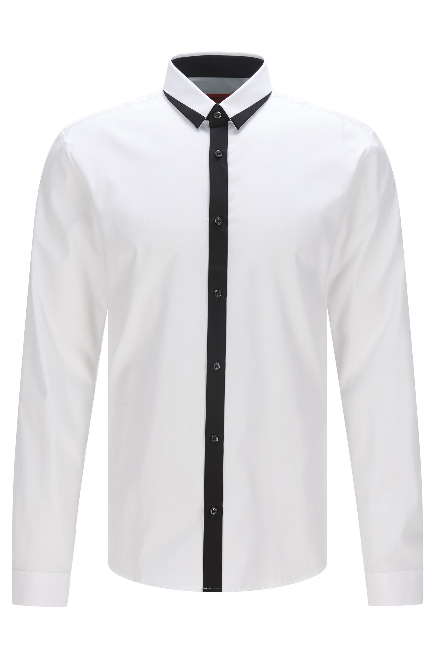 Trimmed Cotton Button Down Shirt, Extra Slim Fit | Egberto