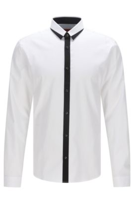 'Egberto' | Extra-Slim Fit, Colorblock Trim Cotton Button Down Shirt, Open White