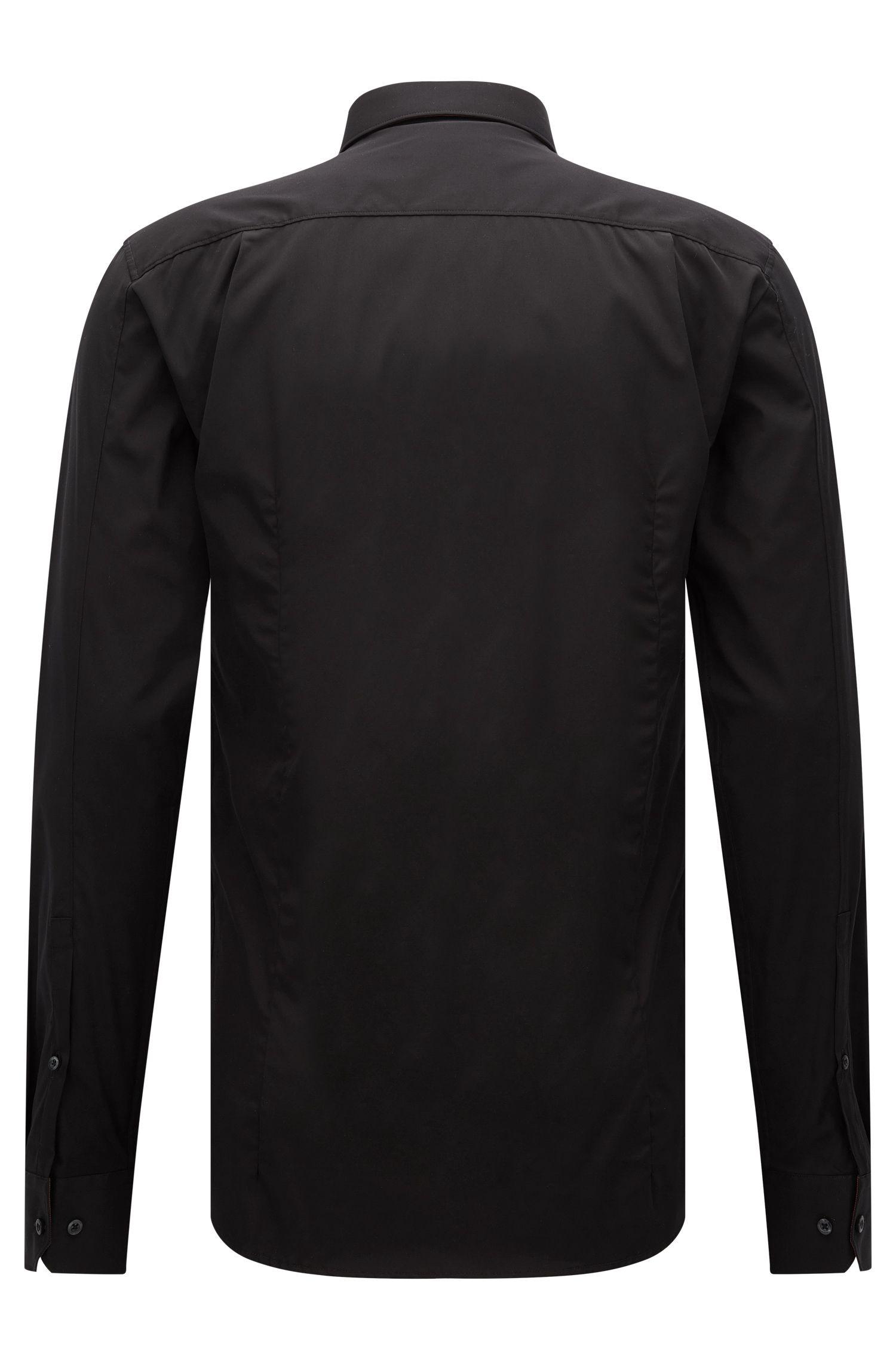Cotton Easy Iron Button Down Shirt, Extra Slim Fit | Elisha, Black
