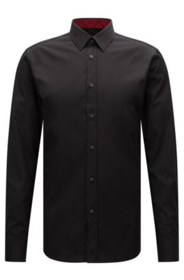 Cotton Easy Iron Button Down Shirt, Extra Slim Fit | Elisha, Black