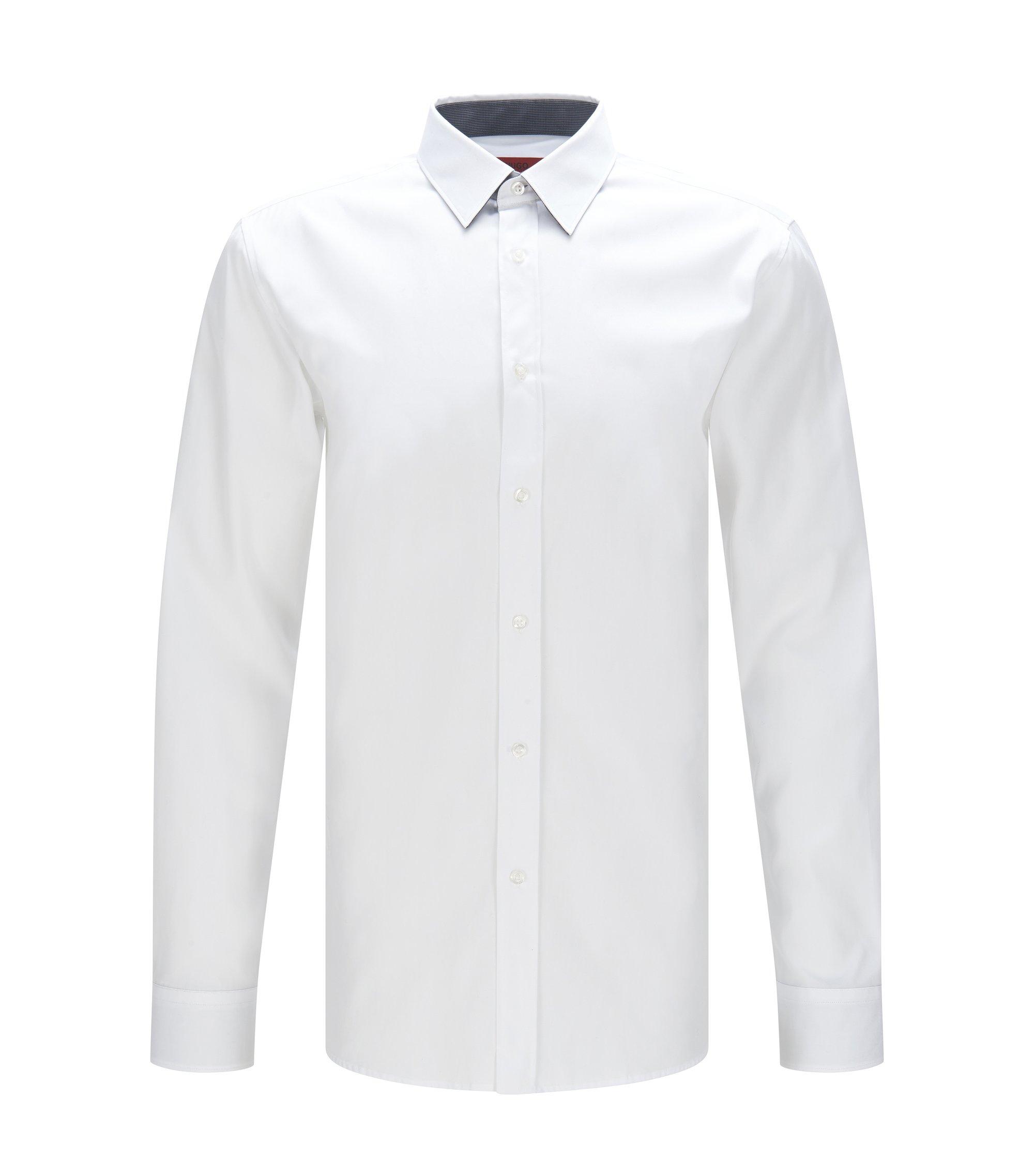 Cotton Easy Iron Button Down Shirt, Extra Slim Fit | Elisha, Open White