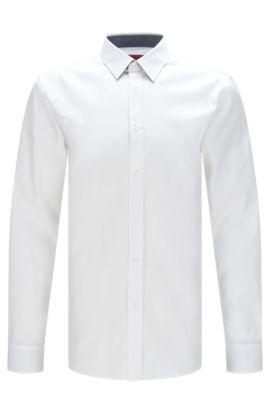 Cotton Easy Iron Button Down Shirt, Extra Slim Fit   Elisha, Open White