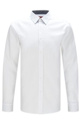 'Elisha' | Extra-Slim Fit, Cotton Easy Iron Button Down Shirt, Open White