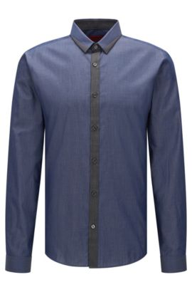 'Egberto' | Extra-Slim Fit, Colorblock Trim Cotton Button Down Shirt, Dark Blue
