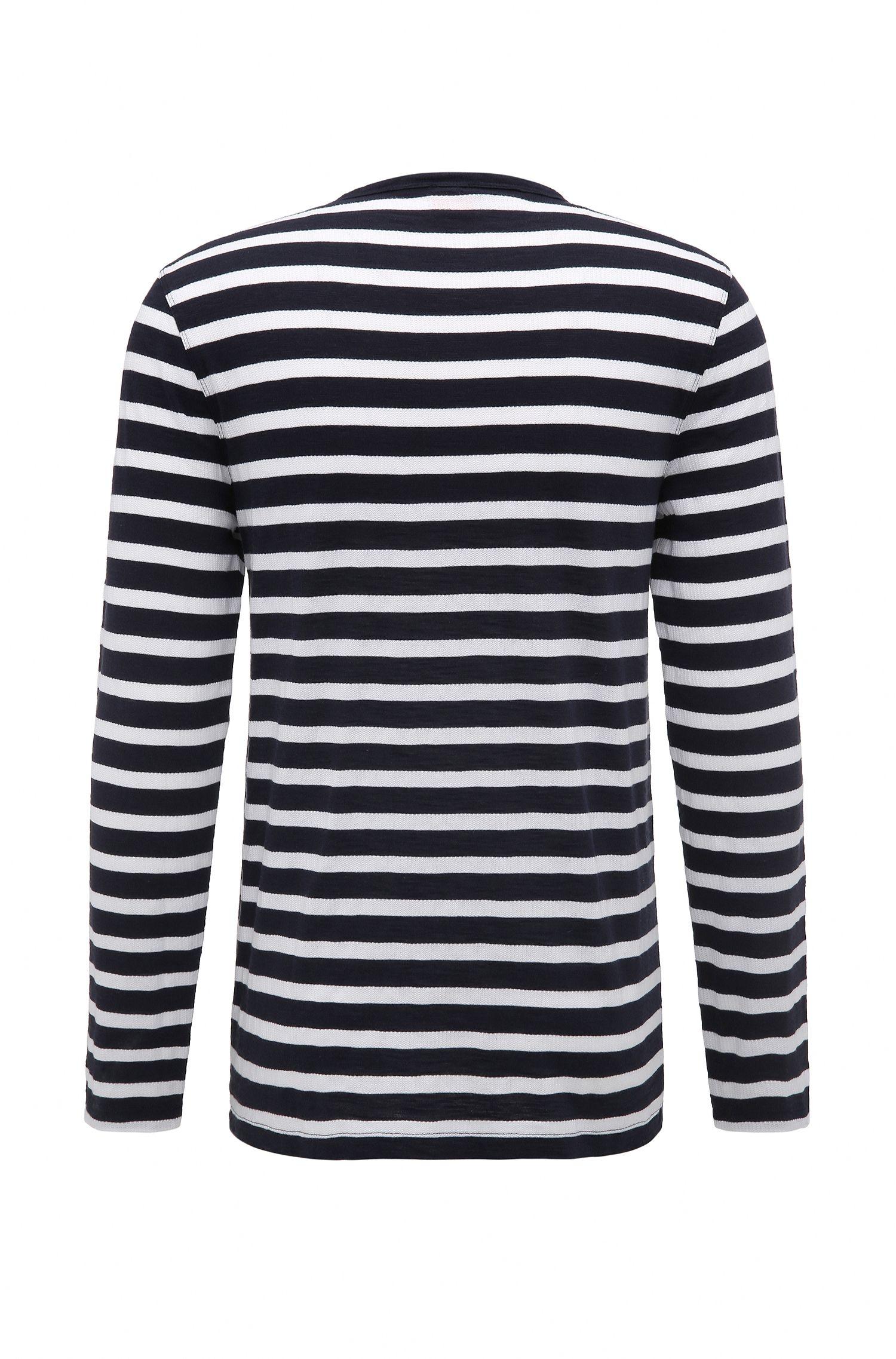 Striped Knit Henley Shirt | Translation, Dark Blue