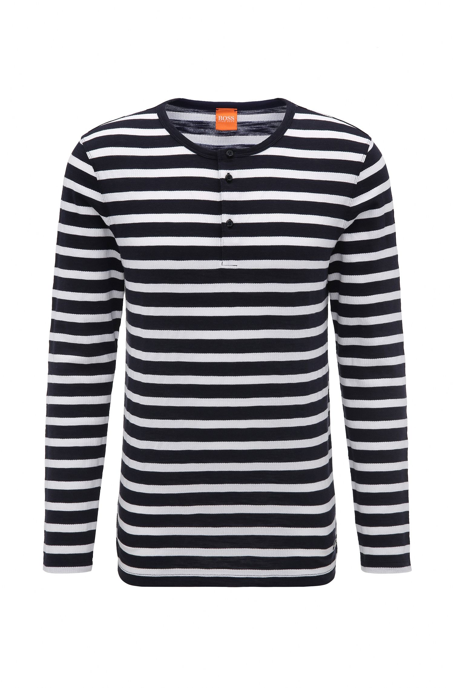 Striped Knit Henley Shirt | Translation