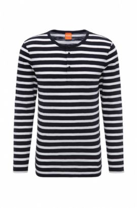 'Translation' | Striped Knit Henley Shirt, Dark Blue