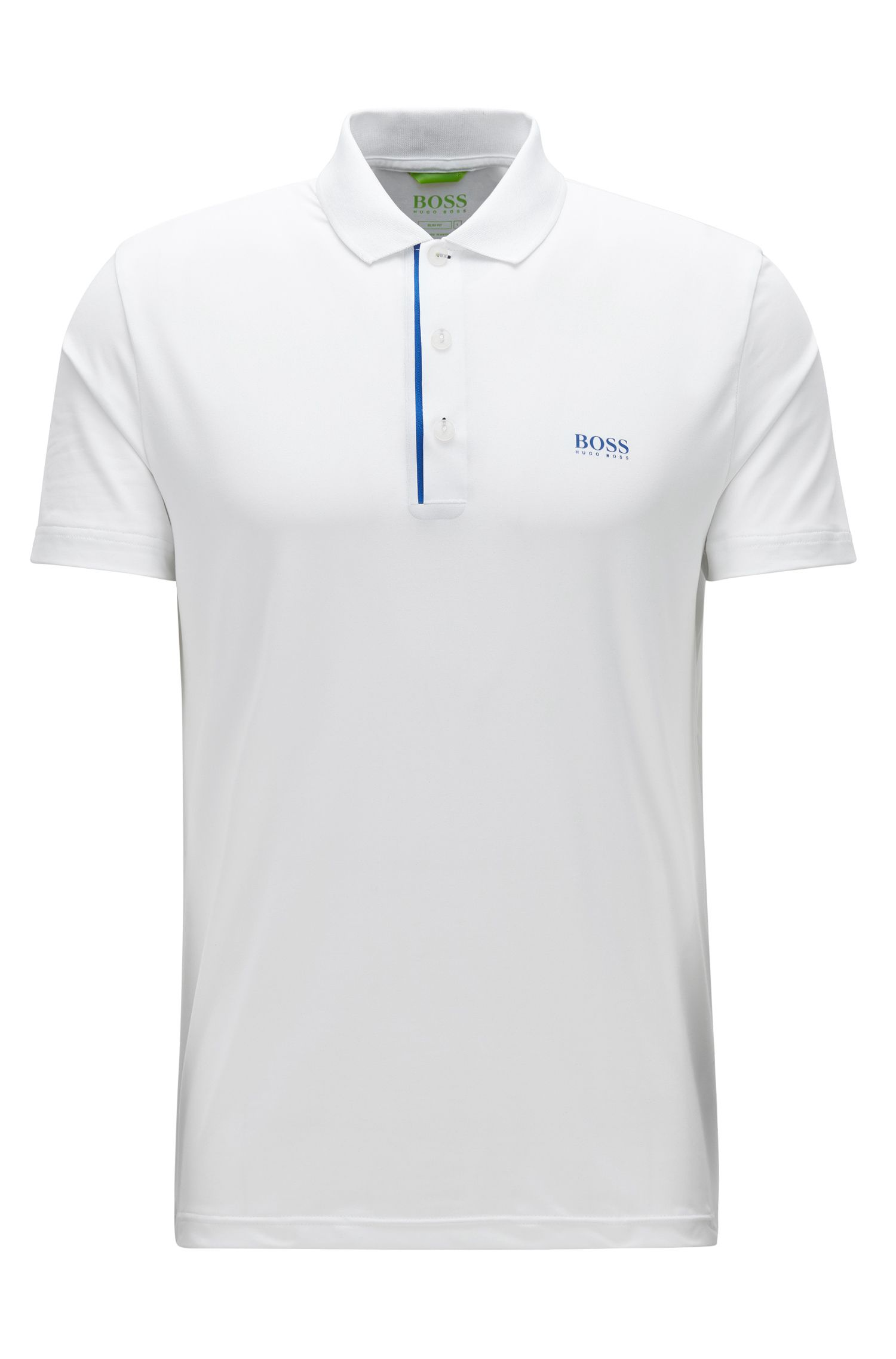 Speckle Egyptian Stretch Polo Shirt, Slim Fit | Pavotech, White