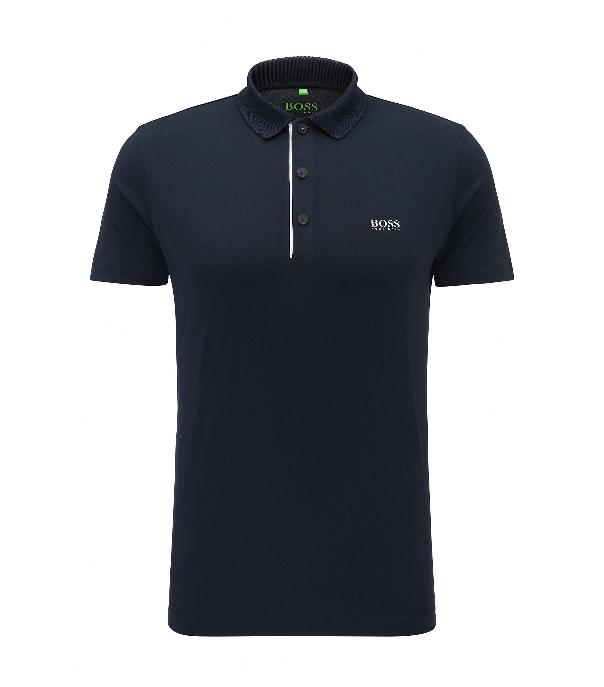 Speckle Egyptian Stretch Polo Shirt, Slim Fit | Pavotech, Dark Blue