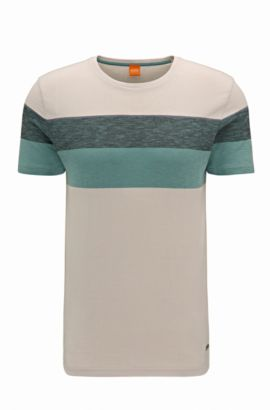 'Twirl' | Colorblock Cotton T-Shirt, Open White