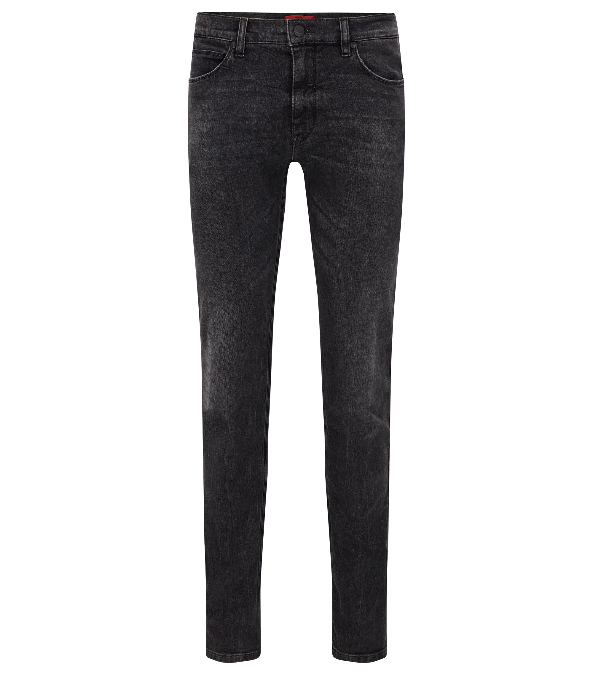 9.5 oz Stretch Cotton Blend Jeans, Slim Fit | Hugo 708, Dark Grey