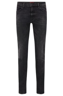 9.5 oz Stretch Cotton Blend Jeans, Slim Fit | Hugo 708, Dark Grey