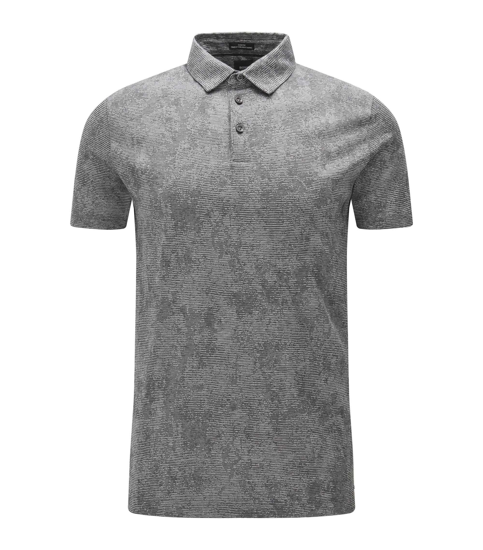 Striped Italian Cotton Polo, Slim Fit   T-Preston, Black