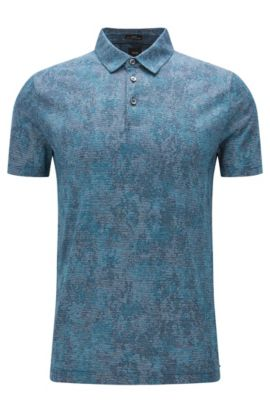 Striped Italian Cotton Polo, Slim Fit | T-Preston, Turquoise