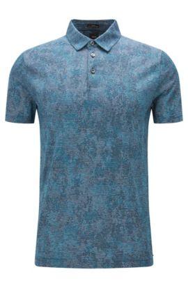 Striped Italian Cotton Polo, Slim Fit | T-Preston, Turquoise