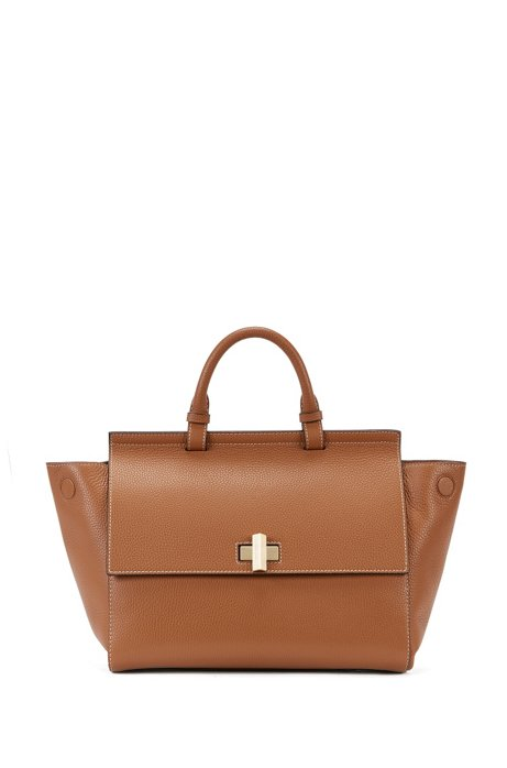 Boss Bespoke Soft M Leather Grained Satchel Handbag Brown