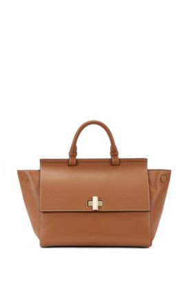 'BOSS Bespoke Soft M' | Leather Grained Satchel Handbag, Brown