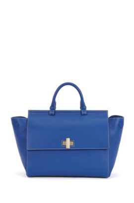 'BOSS Bespoke Soft M' | Leather Grained Satchel Handbag, Light Blue