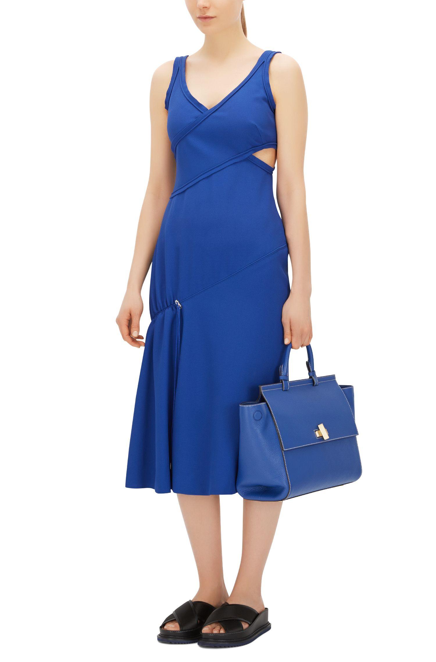 'BOSS Bespoke Soft M' | Leather Grained Satchel Handbag, Light Blue