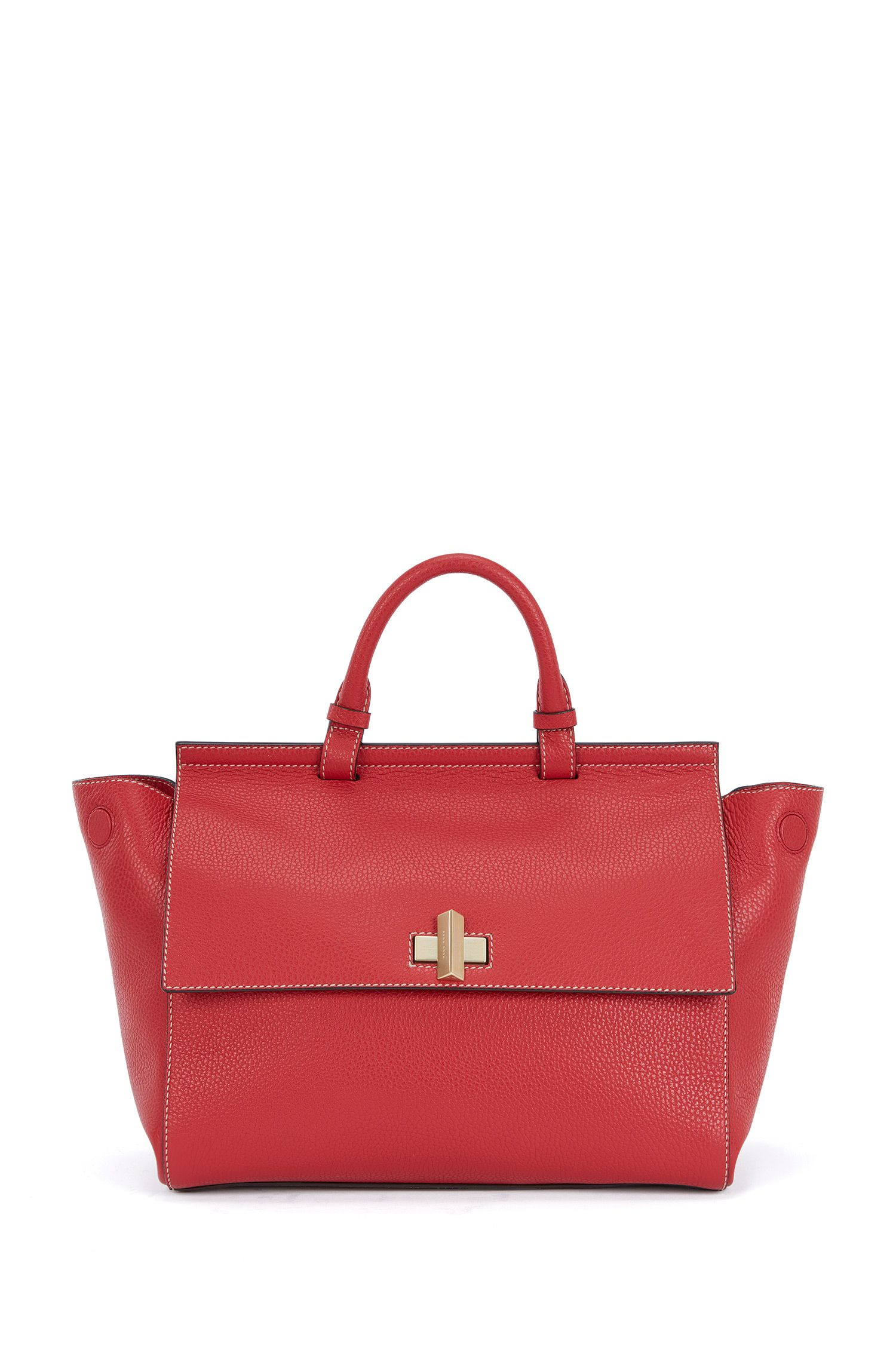 'BOSS Bespoke Soft M' | Leather Grained Satchel Handbag