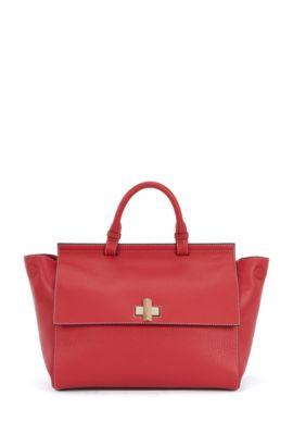 'BOSS Bespoke Soft M' | Leather Grained Satchel Handbag, Red